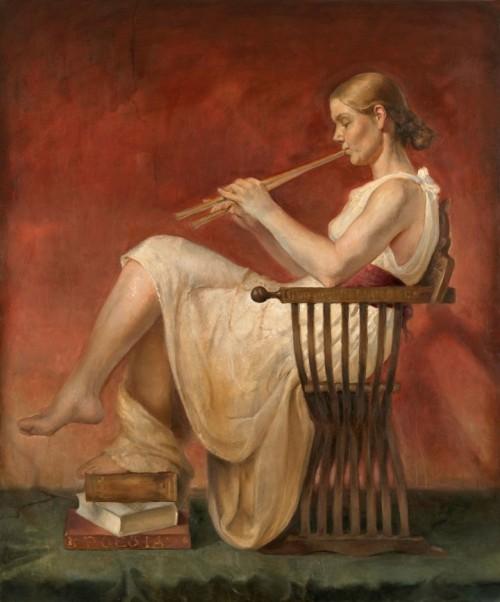 Euterpe - Apollo and the Muses - Helene Knoop 1979 - Norwegian Figurative painter - Tutt'Art@