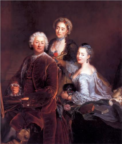 "Antoine Pesne - ""Self-portrait with Daughters"" (1754"
