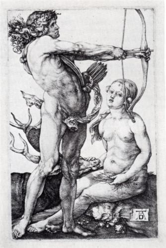 "Albrecht Dûrer - ""Apollo and Diana("" (1502)"