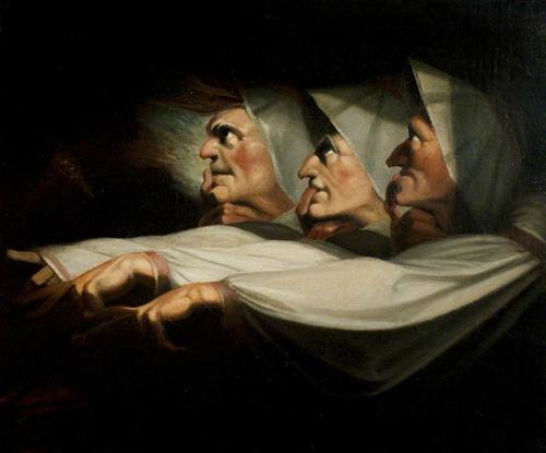 "Henry Fuseli - ""'Macbeth', Act I, Scene 3, the Weird Sisters"""
