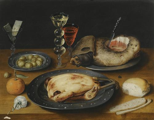 "Osias Beert  - ""Still Life of a Roast Chicken a Ham and Olives on Pewter Plates with a Bread Roll an Orange Wineglasses and a Rose on a Wooden Table"""