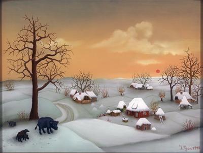 """Ivan Generalic  - """"Winter landscape"""" (1978)"""