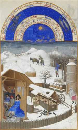 """Facsimile of February: Farmyard Scene with Peasants"" -  Limbourg brothers"