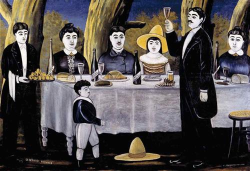 """""""Family Feast"""" (1907) - Niko Pirosmani"""