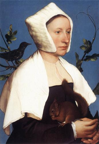 """Lady with a Squirrel and a Starling"" (c.1527) - Hans Holbein the Younger"