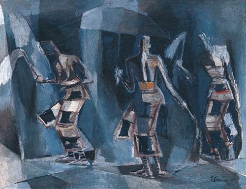 """""""Dancing Senegalese Figures"""" (1967) - Gerard Sekoto"""