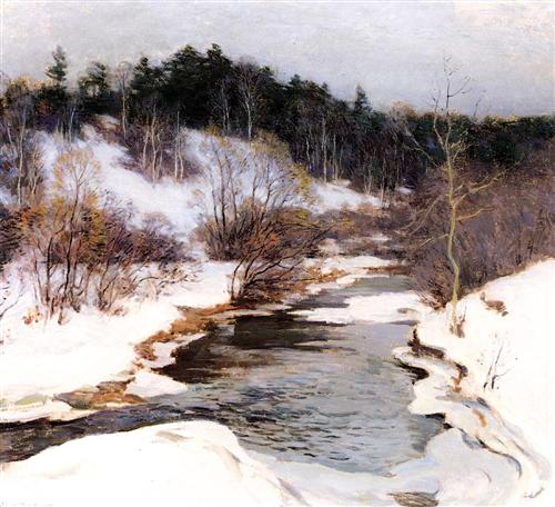 """The Frozen Pool, March"" - Willard Metcalf"