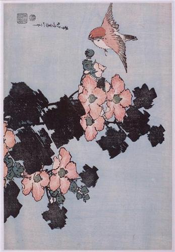 """""""Hibiscus and Sparrow"""" - Katsushika Hokusai"""