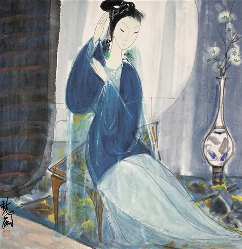 """Lady in Blue"" - Lin Fengmian"