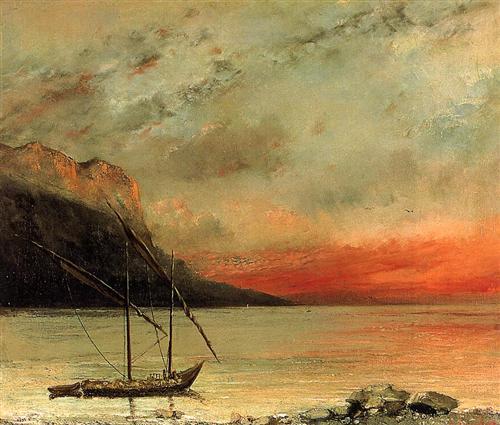 """""""Coucher de soleil sur le lac Léman"""" - Gustave Courbet"""