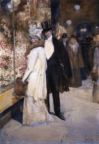"""A New Year's Nocturne, New York"" - Childe Hassam"